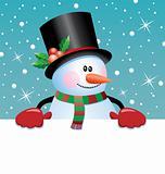 snowman holding blank paper