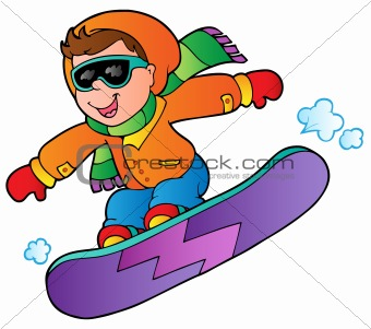 Cartoon boy on snowboard