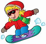 Cartoon girl on snowboard
