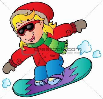 Cartoon girl on snowboard