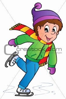 Cartoon skating boy