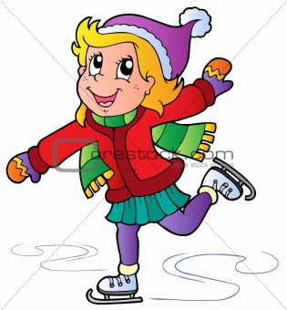 Cartoon skating girl