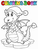 Coloring book cute winter dragon