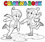 Coloring book skating boy and girl