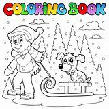 Coloring book winter theme 1