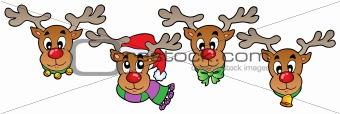 Four cute Christmas deers