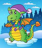 Winter scene with cute dragon