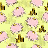 Pig piggy bank, gold coins.