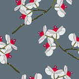 Orchid flowers. Seamless wallpaper.