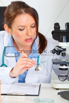 Busy female medical doctor working sample in laboratory
