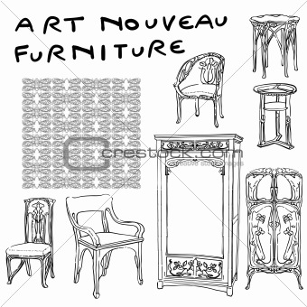 jugendstil furniture doodles