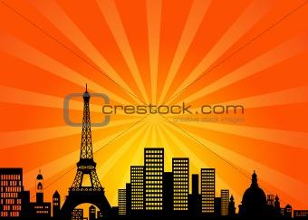 Paris France Downtown City Skyline