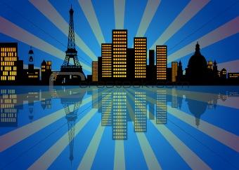 Reflection of New York City Skyline at Night