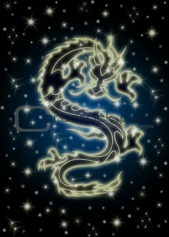 Celestial Chinese Dragon in the Night Sky