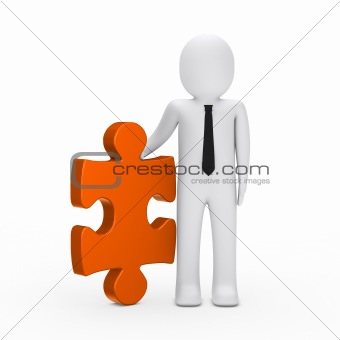 business man hold a puzzle orange
