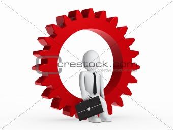 Businesman sitting in red gear