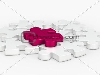 3d pink puzzle piece