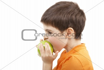 Boy eat the apple