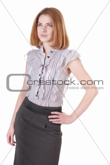 Beautiful young woman in blouse and skirt on white