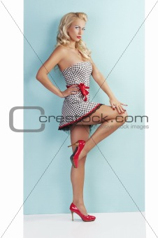 sensual full body pin up with a red belt