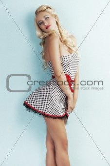sensual pin up lady with a red belt
