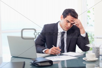 Focused businessman working