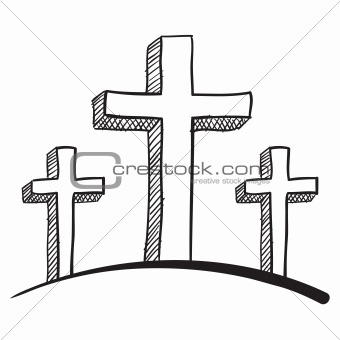 Three Christian crosses