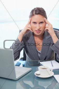 Portrait of an upset businesswoman