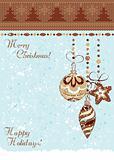 Christmas vintage baubles background