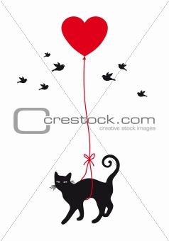 cat with heart balloon, vector