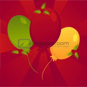 christmas colored balloons background