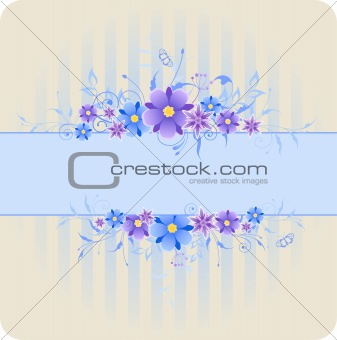 background with violet and blue flowers