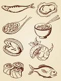hand drawn vintage seafood