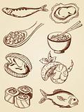 hand drawn vintage seafood