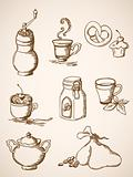 hand drawn vintage coffee icons
