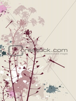 Grunge background with flowers and dragonfly