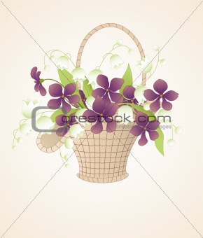 bouquet of violets and lilies of the valley