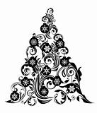 Christmas Tree with Leaf Swirls Design and Ornaments