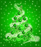 Christmas Tree with Leaf Swirls Sparkles and Ornaments