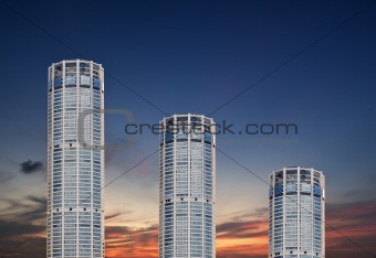 Skyscrapers on evening sky