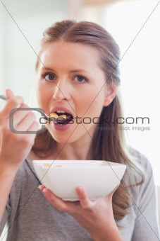 Close up of woman having cereals