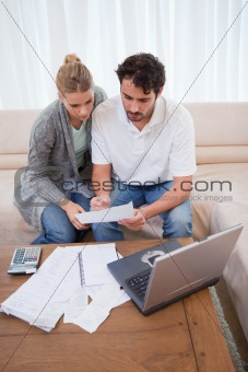 Portrait of a couple doing their accounting with a laptop