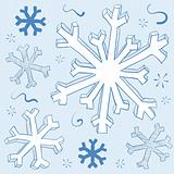 Winter Snowflake illustration in doodle style. Seasonal theme fo