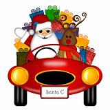 Santa and Reindeer in Red Sports Car with Presents