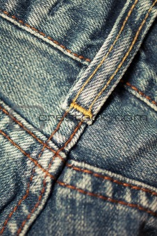 closeup  of  blue jeans texture with stitch detail