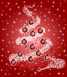Christmas Tree with Leaf Swirls Sparkles and Ornaments Red