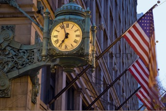 Old Clock and Flags