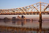 Sunrise colors on the bridge in Louisville