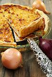 Alsatian onion pie with ham.