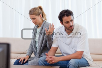 Woman being mad at her fiance